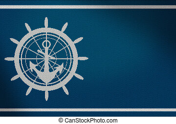 Knitted anchor background. Navy concept. 3D Rendering