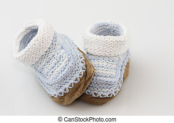 Knitted Baby Booties - Baby Booties knitted our of yarn with...