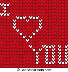 Knitted background seamless pattern of hearts with the inscription I love you illustration vector