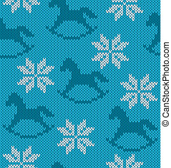 Knitted background with image of snowflakes and horses