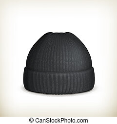 Knitted black cap, vector
