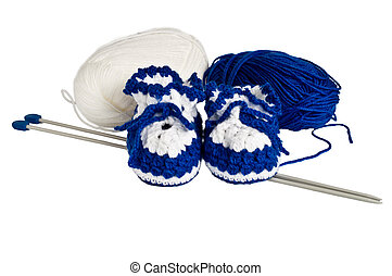 knitted, blue booties for children
