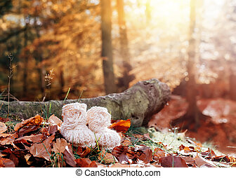 Knitted booties on a pile of leaves in the autumn forest
