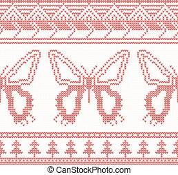 Knitted Butterfly Seamless Pattern in Red Color.