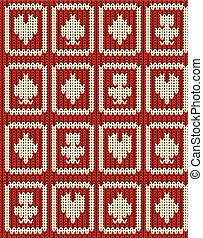 Knitted casino poker symbols seamless pattern, vector illustration