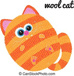Knitted cat Vector character on white background.
