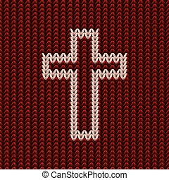 Knitted christian cross background, vector illustration