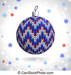 Knitted Christmas Ball - Multicolored Knitted Christmas Ball...
