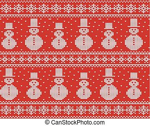 Knitted christmas design with snowmen and snowflakes. Geometric knit seamless ornament.