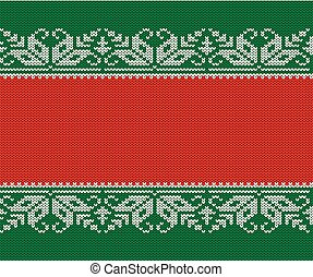 Knitted christmas red and green background. Seamless geometric knit ornament.