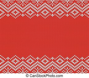 Knitted christmas red and white geometric ornament. Xmas knit winter sweater texture design.