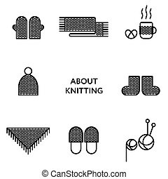Knitted clothing. Set of flat line icons. Modern