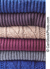 Knitted Color Clothes in stack
