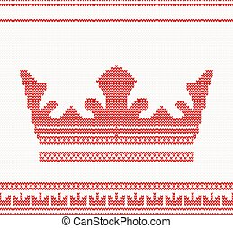 Knitted Crown Seamless Pattern in Red Color.