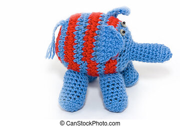 Knitted elephant - Knitted blue elephant with red stripes