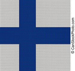 Knitted flag of Finland. Background vector illustration 10 EPS