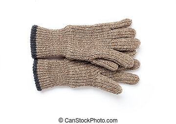 knitted gloves on white background