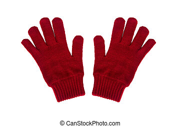 knitted gloves - Red knitted gloves isolated on white...
