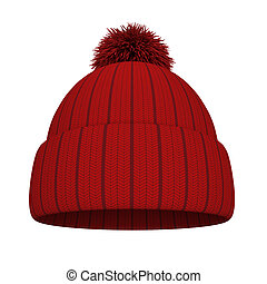 Knitted hat. 3d illustration isolated on white background