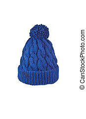 winter soft warm blue knitted hat with braids patterns handmade isolated