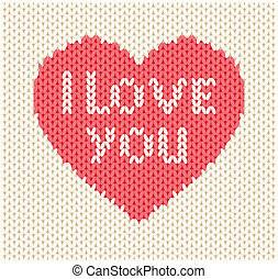Knitted heart. Vector illustration