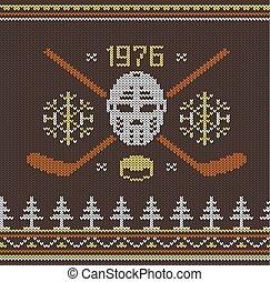Knitted hockey logo