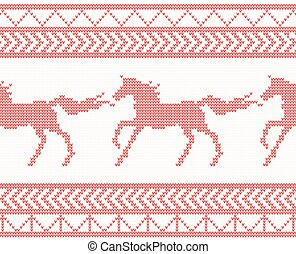Knitted Horse Seamless Pattern in Red Color.