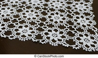 knitted lace tablecloth with rope, handicrafts and ...