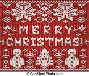 Knitted Merry Christmas wallpaper, vector illustration