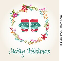 knitted mittens Xmas background, Merry Christmas card -...