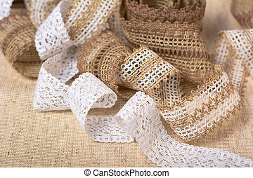 knitted openwork linen ribbon tapes in rural style of rustics cotton eco natural