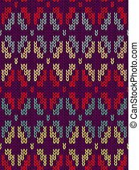 Knitted Pattern - Style Seamless Knitted Pattern. Red Gray...