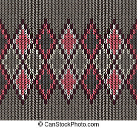 Knitted Pattern - Seamless Gray Background of Color Knitted...
