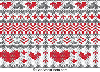 Knitted pattern vector with hearts - Seamless knitted...