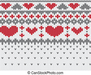 Knitted pattern vector with hearts - Seamless knitted ...