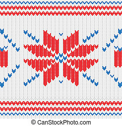 Knitted pattern with a snowflakes