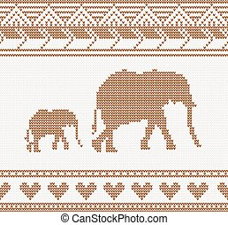knitted pattern with elephant
