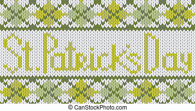 Knitted pattern with rhombus for St. Patricks Day