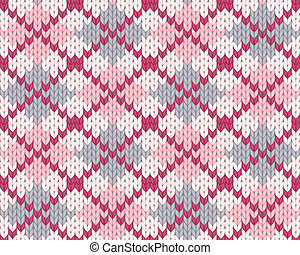 Knitted pattern with rhombus