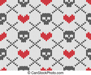 Knitted pattern with skulls - Seamless knitted pattern with...