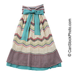 Knitted pleated strapless dress with big green bow isolated...