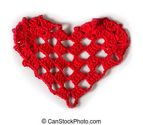 Knitted red heart