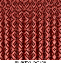 Knitted red seamless pattern