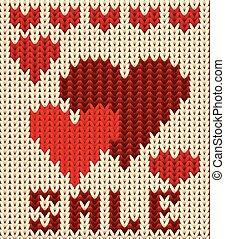 Knitted sale valentines day, vector illustration