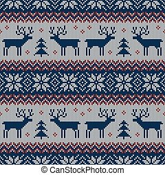 Knitted scandinavian pattern with deers. Vector.