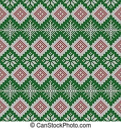 Knitted scandinavian pattern with snowflakes. Vector.