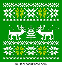 Knitted scandinavian scarf with deer - Scandinavian ornament...