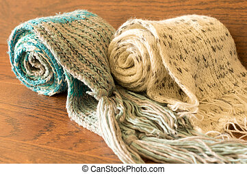 Knitted scarves - Closeup of different colors knitted...