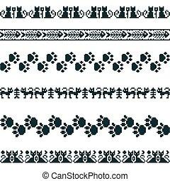 Knitted seamless pattern animal set