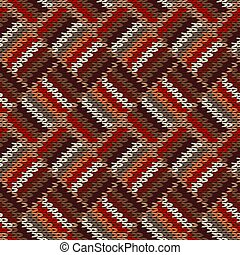 Knitted seamless pattern. Classic knitwear red white brown ornament. Fashion trendy stylish background